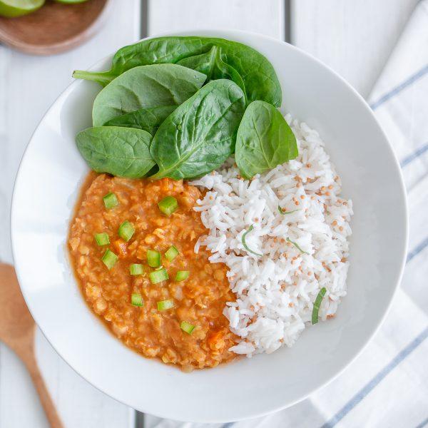 Daal de lentilles corail, coco & curry